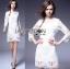 Lady Ribbon Online เสื้อผ้าออนไลน์ ขายส่งของแท้ราคาถููก LR09110716 &#x1F380 Lady Ribbon's Made &#x1F380 Lady Daria Pure Classic White Silk Cotton and Lace Dress thumbnail 2