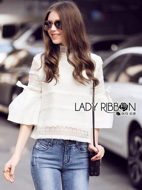 Lady Ribbon White Lace Blouse เสื้อผ้าลูกไม้
