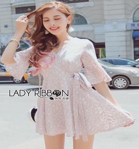 Lady Ribbon Dress with Ribbon เดรสผ้าลูกไม้สีชมพูอ่อน