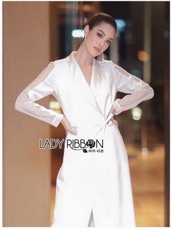 Lady Chic Crepe Lace Long Coat