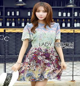 Mixed Printed Chiffon Lady Ribbon Dress เดรสผ้าพิมพ์ลาย