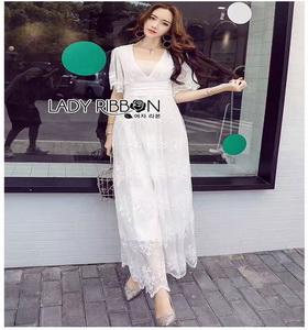 White Lace Maxi Dress Lady Ribbon เดรสยาว