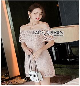 Lady Ribbon Nude Lace Playsuit เพลย์สูทสีชมพู