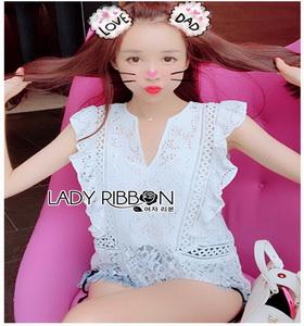White Lady Ribbon Lace Top ขายเสื้อผ้าลูกไม้สีขาว