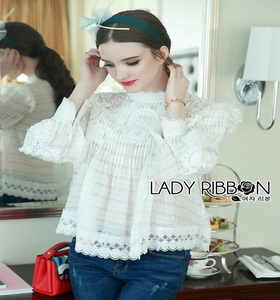 Lady Ribbon Linda Cotton and Lace Blouse