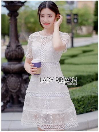 Embroidered Lady Ribbon White Lace Dress