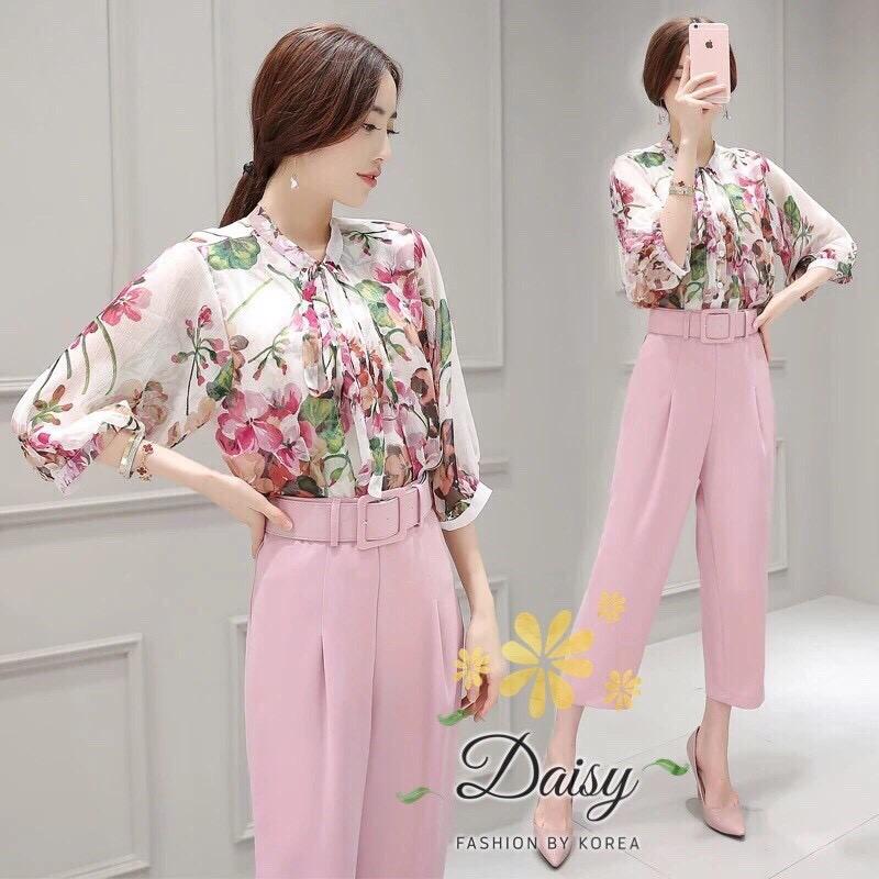 เสื้อผ้าแฟชั่นเกาหลีชุดเซทเสื้อ+กางเกงเป็นผ้าจอเจียร์เนื้อดี