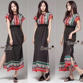 Lady Ribbon Online ขายส่งเสื้อผ้าแฟชั่นออนไลน์ เสื้อผ้า Normal Ally NA15080816 &#x1F389Normal Ally Present Bohemian prince style summer maxi dress&#x1F389