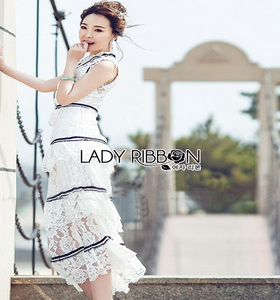 Lady Ribbon Aerin Black and White Lace Dress