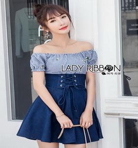 Blue Cotton and Denim Lady Ribbon Dress เดรสผ้าคอตตอน
