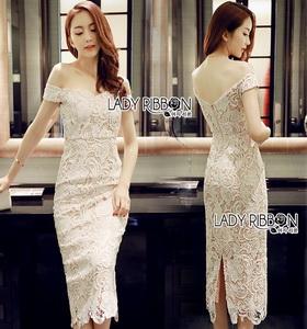 ady Ribbon Angelica White Guipure Lace Dress เดรสผ้าลูกไม้สีขาว