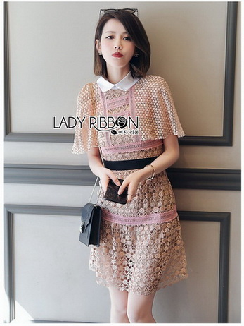 Lady Maria Preppy Feminine Collared Pink Lace Dress