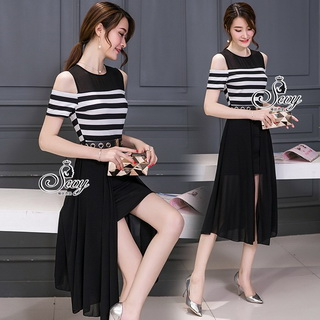 Sevy Strips Cut Shoulder Chiffon Open Leg Dress