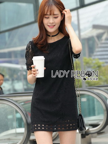 Little Black Lady Ribbon Lace Dress