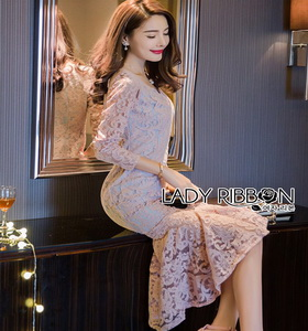 Lady Ribbon Classy Feminine Peplum Pink Lace Dress