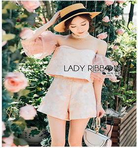 Lady Ribbon Pink Off-Shoulder Top and Shorts