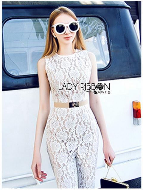 Lady Ribbon Plain Lace Jumpsuit จัมป์สูทขายาว