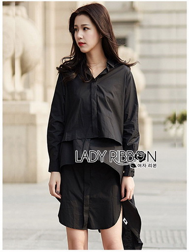 Cotton Lady Ribbon Shirt Dress เชิ้ตเดรส