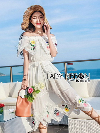 Lady Elise Summer Embroidered Chiffon Dress