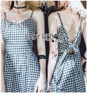 Back-Ribbon Checked Dress Lady Ribbon เดรสสายเดี่ยว