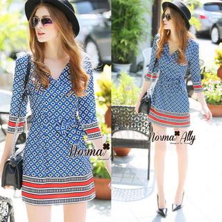 Lady Ribbon Online เสื้อผ้าออนไลน์ขายส่ง Normal Ally เสื้อผ้า,NA14220816 &#x1F389Normal Ally Present Autumn elegant graphic print V-neck swing dress&#x1F389 (เดรสพิมลายผ้าอย่างดี, มีซับในทั้งชุด)