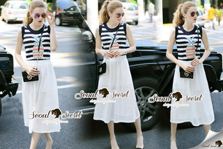 SS20290816 Seoul Secret Say's .... Pineapple Stripe Chic Dress