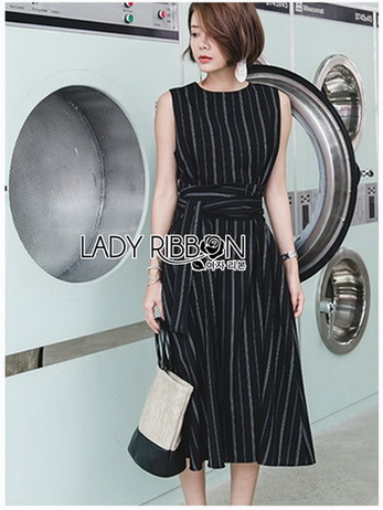 Lady Ribbon Sleeveless Dress เดรสแขนกุดมินิมัล