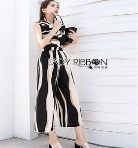 Graphic Printed Lady Ribbon Jumpsuit