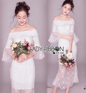 Lady Ribbon Fiona Off-Shoulder Bridesmaid Ruffle White