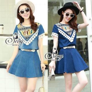 Lady Ribbon Online ขายส่งเสื้อผ้าออนไลน์ เสื้อผ้า Sevy SV01030816 &#x1F389Sevy Two Pieces Of Triangle Scarf Denim Sets Type: Blouse+Shorts(Sets) Fabric: Denim+Cotton Detail: