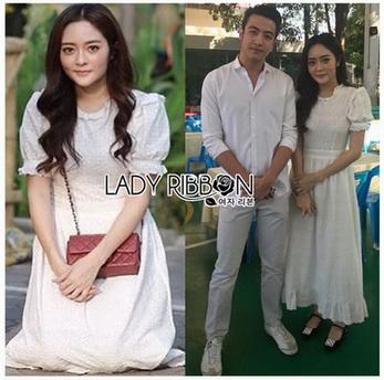 Lady Ribbon Laser-Cut White Cotton Dress