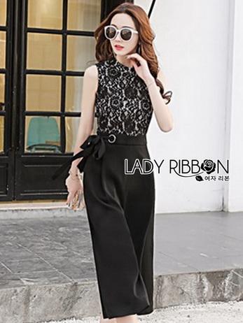 Black Lace and Crepe Lady Ribbon Jumpsuit