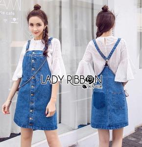 Lady Ribbon Denim Overall Dress