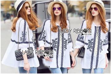 Lady Ribbon Online ขายส่งเสื้อผ้าออนไลน์ ขายส่งของแท้พร้อมส่ง Lady Ribbon LR20250716 &#x1F380 Lady Ribbon's Made &#x1F380 Lady Joanna Vintage Boho Embroidered Cotton
