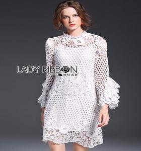 Lady Ribbon Lauren Floral White Lace Dress