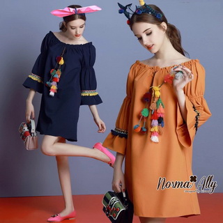 Normal Ally Present Korea rope pin style dress&#x1F389 (เดรส, แต่งเชือกตุ้มเม้งสลับสี)