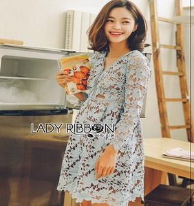 Lilac Guipure Lace Dress Lady Ribbon เดรสผ้าลูกไม้