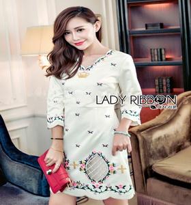 White Crepe Lady Ribbon Mini Dress มินิเดรสผ้าเครป