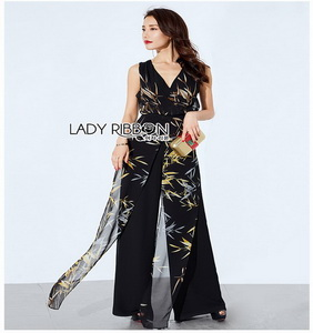 Smart Casual Abstract Printed Jumpsuit Lady Ribbon จัมป์สูท