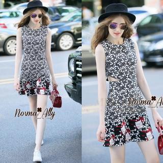 NA11010916 &#x1F389Normal Ally Present Love jacquard skirt dress&#x1F389 (เดรส , มีซับใน, ซิปหลัง)