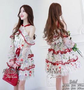 2Sister Red Flora Dress เดรสแฟชั่นเกาหลีลุคสวยหรู