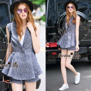Lady Ribbon Online เสื้อผ้าออนไลน์ขายส่ง Normal Ally เสื้อผ้า NA07150816 &#x1F389Normal Ally Present elegance Chanel Summer set&#x1F389 (เสื้อ + กางเกง,มีซับใน)