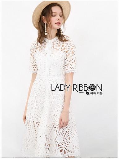 Chic White Lady Ribbon Shirt Dress