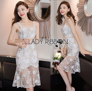 LR14290816 &#x1F380 Lady Ribbon's Made &#x1F380 Lady Sophia Sweet Sexy Floral Embroidered Lace Dress