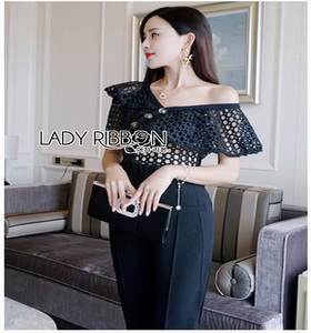 Black Lace Frill Lady Ribbon Jumpsuit จัมป์สูท