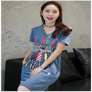 Lady Ribbon Denim Dress ขายเดรสผ้าเดนิม