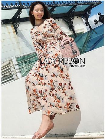 Lady Anne Autumn Flower Printed Chiffon Dress