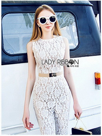 Lady Emily Sleeveless Plain Lace Jumpsuit