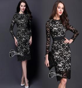 Cliona dress. ลูกไม้ดำซับสีเนื้อ แขนยาว