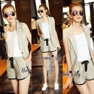 NA14290816 &#x1F389Normal Ally Present Casual cotton linen Blazer and short set&#x1F389 (Blazer + กางเกง , มีซับในอย่างดี)